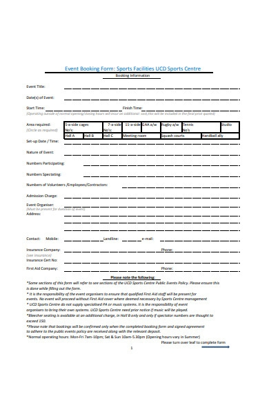 sports event booking form