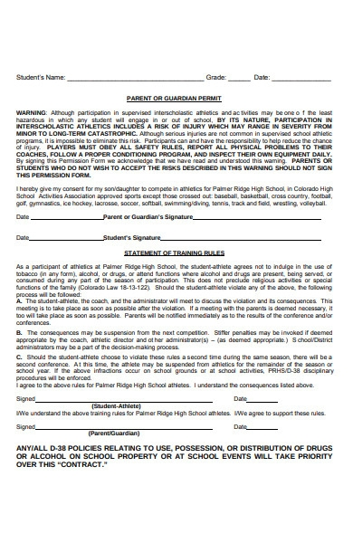 sports form for guardian permit