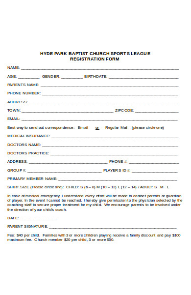 sports league registration form