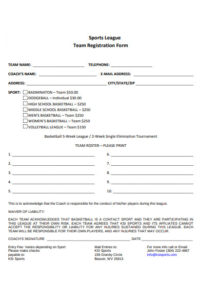 sports league team registration form