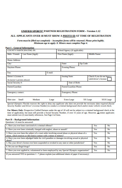 sports partner registration form