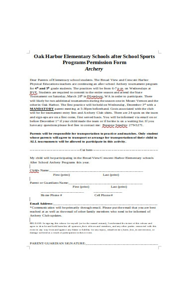 sports program permission form1