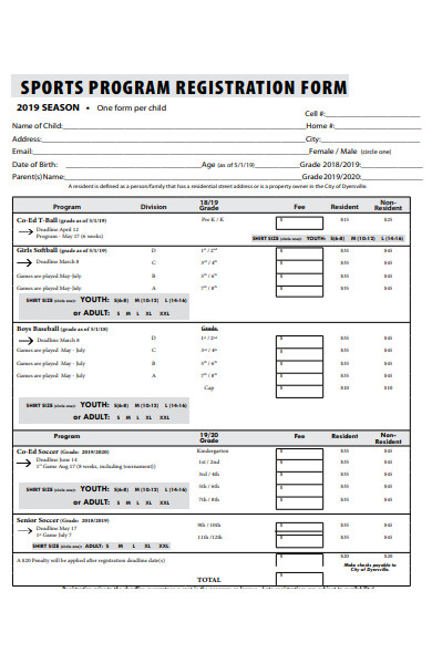 sports program registration form