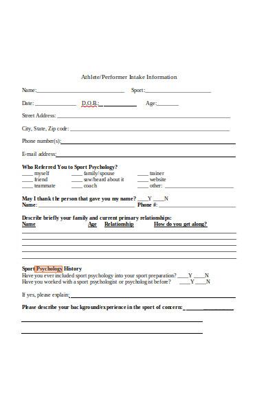 sports psychology information form