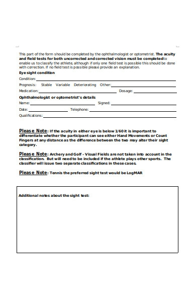 sports recreation classification form