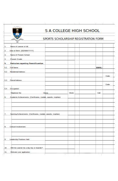 sports scholarship registration form