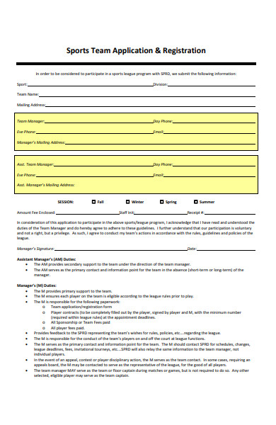 sports team registration form