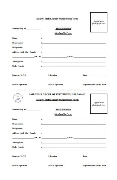 staff library membership form