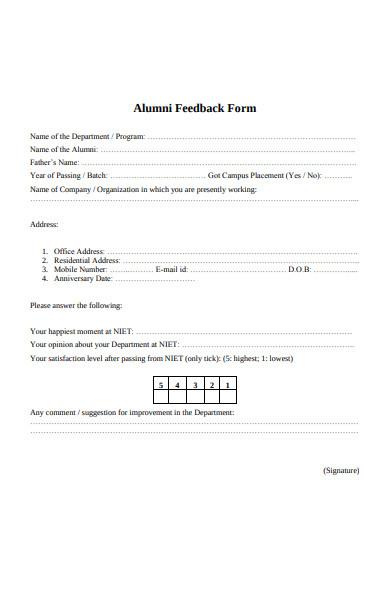 standard alumni form