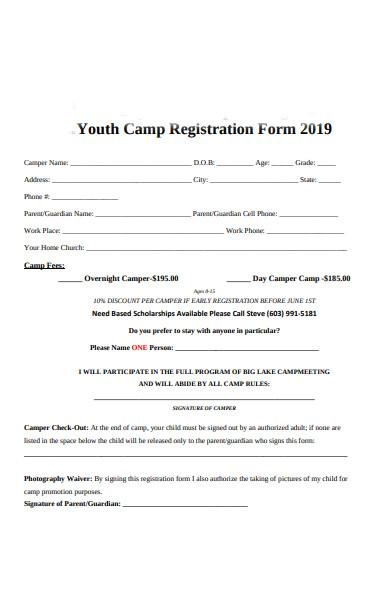 standard camp registration form