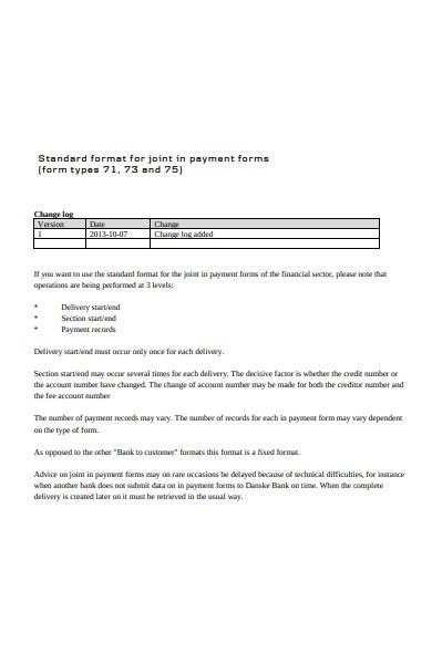 standard format payment form