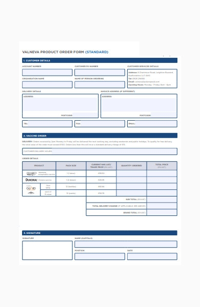 standard product order form in pdf