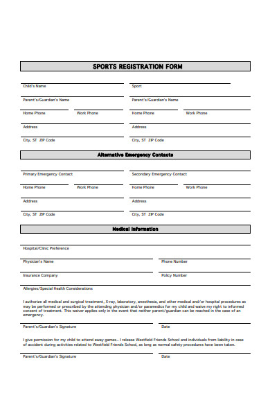 standard sports registration form