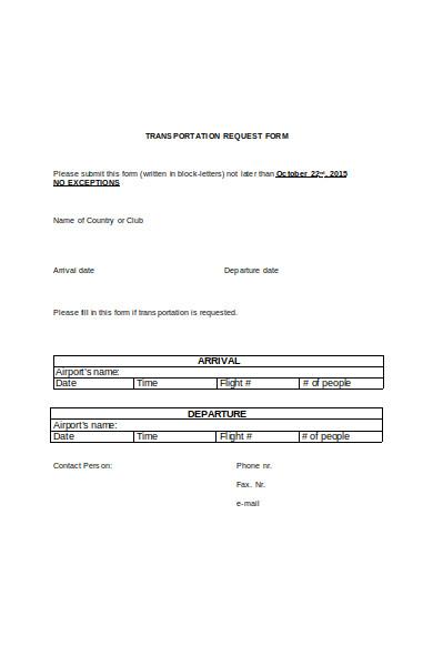 standard transportation request form