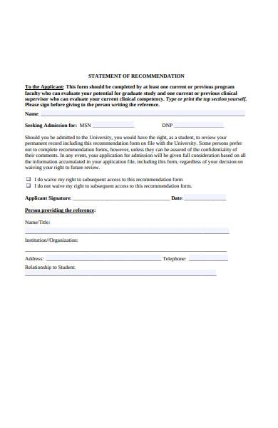statement recommendation form