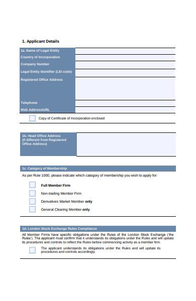 stock exchange membership form