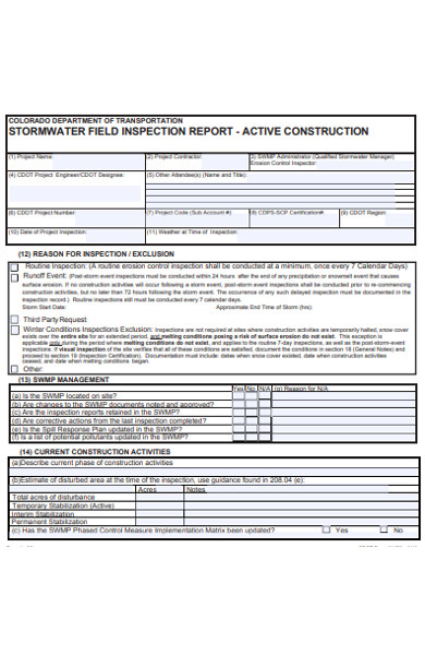 storm water field inspection form