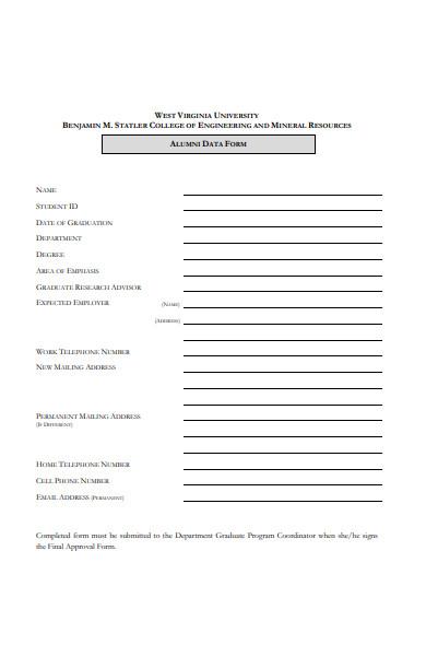 student alumni form