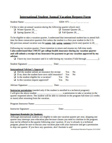 student annual vacation request form