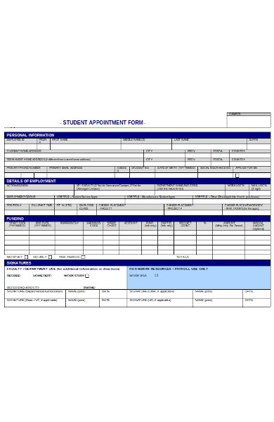 student appointment human resources form