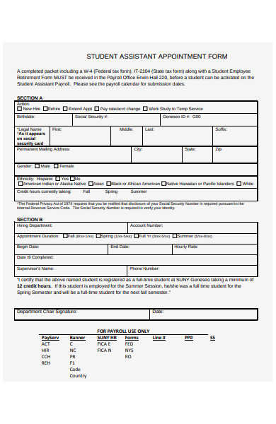 student assistant appointment form