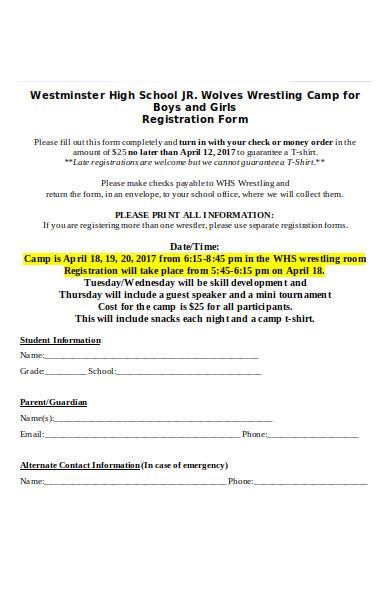 student camp registration form