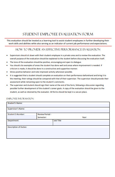student employee evaluation form