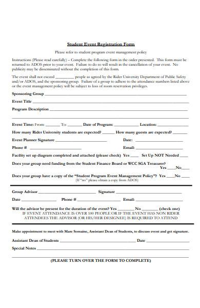 student event registration form
