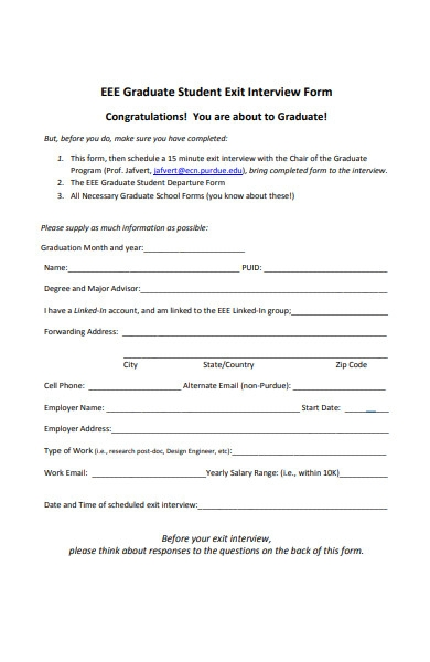 student exit interview form