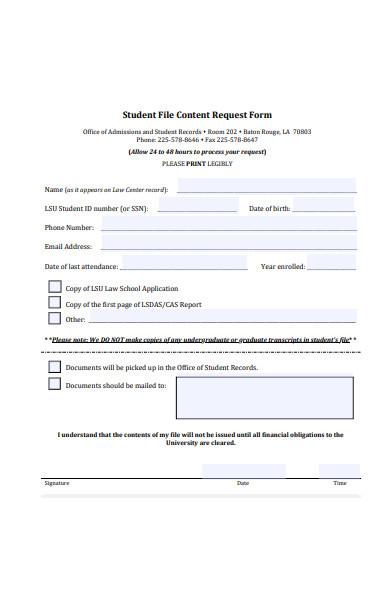 student file content request form