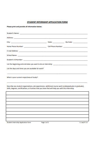 student internship application form