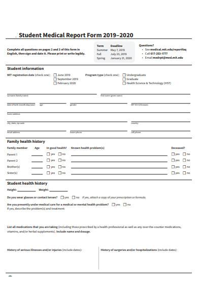 student medical report form