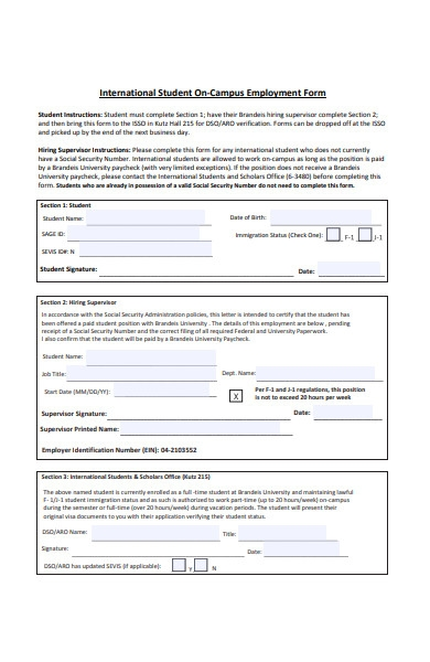 student on campus employment form