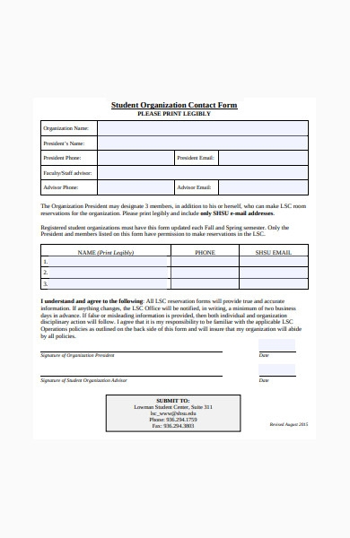 student organization contact form