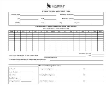 student payroll adjustment form