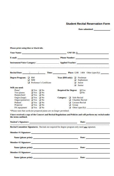 student reservation form