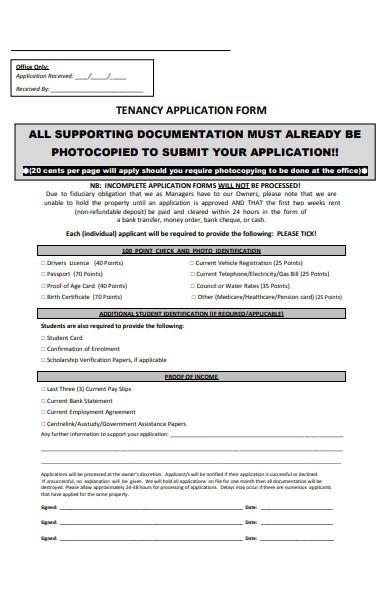 student tenancy application form