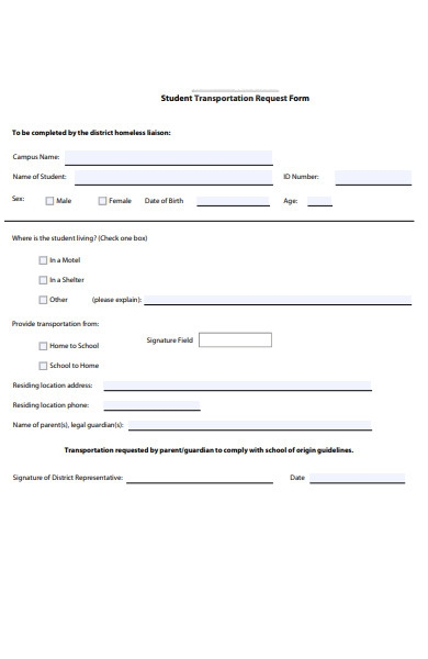 student transportation request form