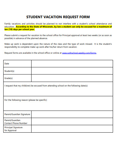 student vacation request form