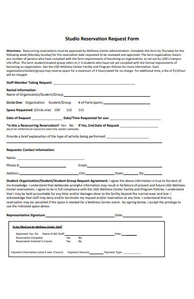 studio reservation form