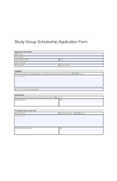 study group scholarship application form