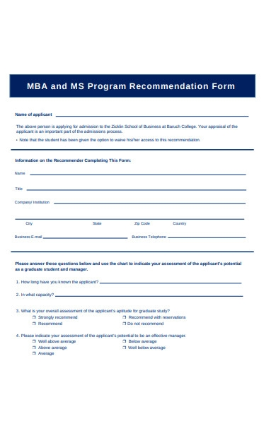 study recommendation form