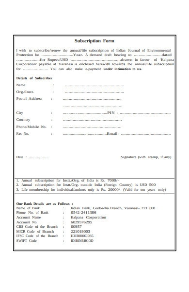 subscription agreement form