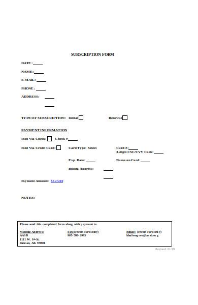 subscription registration form