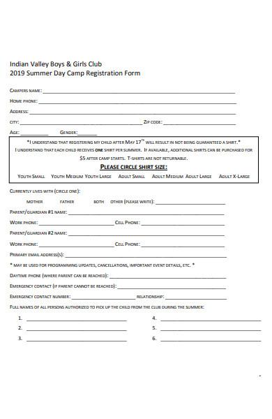 summer space camp registration form