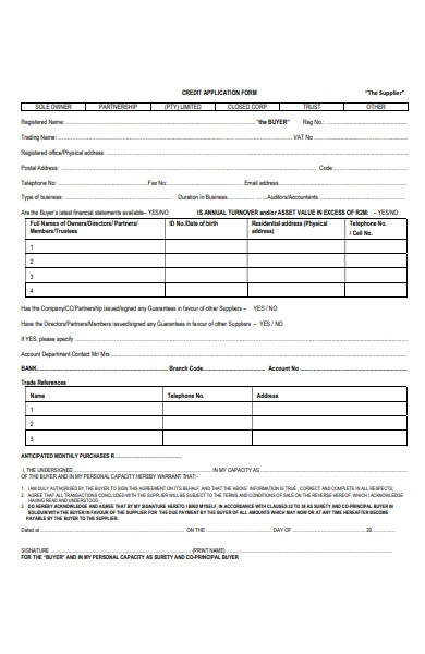 supplier credit application form