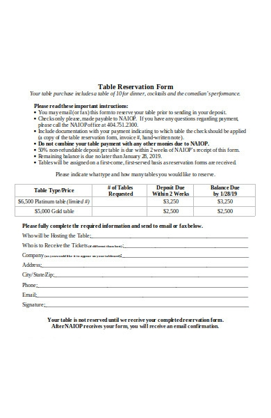 table reservation form