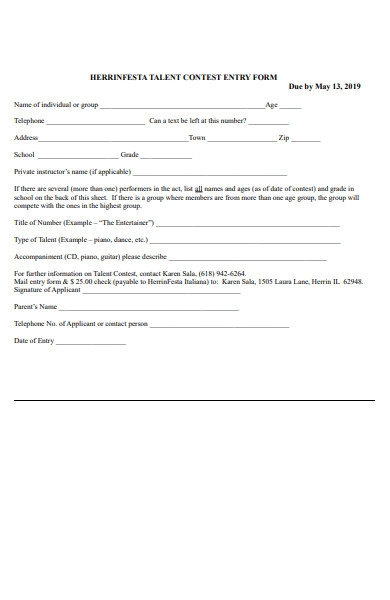 talent contest entry form