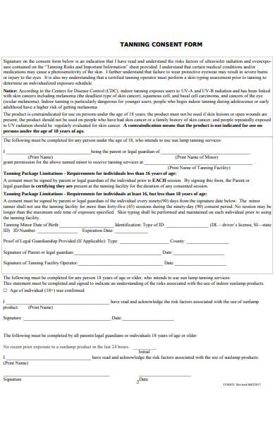 tanning consent form