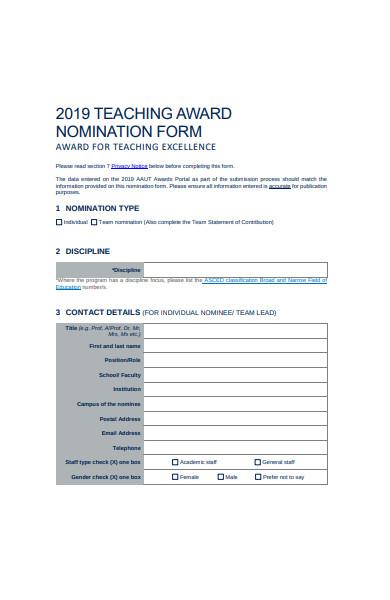 teaching award nomination form